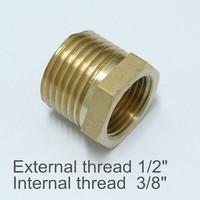 """Brass Internal and External Thread 1/2"""" to 3/8"""" Convert Screw Adapter Screw Thread"""