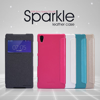 Genuine Nillkin Sparkle Series Top Quality PU Leather Case for Sony Xperia Z2 L50W L50 with S View Window Open Design