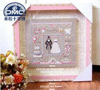 Free Shipping New Arrival Home cross stitch Wedding festive wedding dress linen cloth