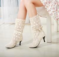 2014 spring and summer cutout boots white round toe thin heels high-heeled sleeve medium-leg gauze boots martin boots