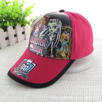 Monster High Hat Adjustable Fashion Cartoon Snapback Cap Girl's Sports Peaked Sunny Hats Baseball Cap 5pcs/Lot Wholesale DA131
