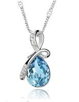 Angel Tear Necklaces & Pendants Wholesale (15 pcs/lot) 7 Color silver Plated Austrian Crystal water drop Necklace & Pendants