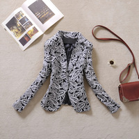 [R&V] 2014brand spring fashion women blazer vintage black and white color block print  design ol outerwear plus size RS6549