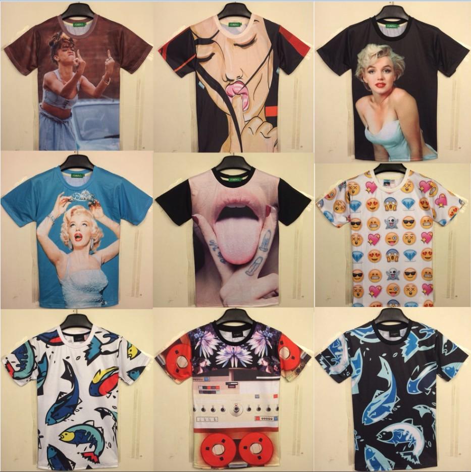 [Magic] Hot models new design for t-shirt 2014 new style men/women 3D t shirt short sleeve summer cotton tshirt free shipping(China (Mainland))