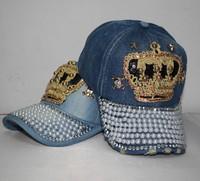 2013.2014 autumn and winter rhinestone pearl paillette skull women's denim baseball cap fashion hat female hats  new design