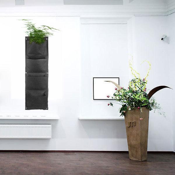 4 bolsos Vertical Gargen Vasos Plantadores de parede vida interior parede plantador Planta Bonsai Preto(China (Mainland))