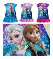Stock! Hot frozen clothes girls dresses Frozen Princess frozen dress frozen clothing Cartoon POLYESTER kids pajamas dress