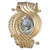 Black Dial Individuality Creativity Fashion Golden Quartz Movement Bracelet Women Watches