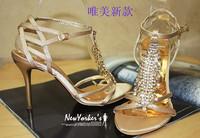 2014star rhinestone wedding shoes high-heeled sandals open toe high-heeled shoes women's shoes female
