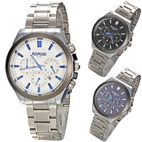 3 Colors Stainless Steel Men's Wrist Watch Three Sub-dials for Decoration