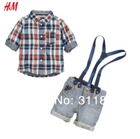 Retail- 2014 Hot selling new kids boys The new  plaid long-sleeved shirt + overalls casual handsome two sets clothes