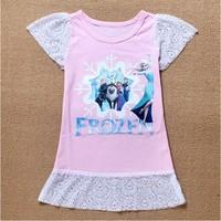 1 pc Retail Sale 2014 New Arrival Baby wear Hot Girls Frozen dress 100% Cotton Children's Printed dresses Kids Princess dress