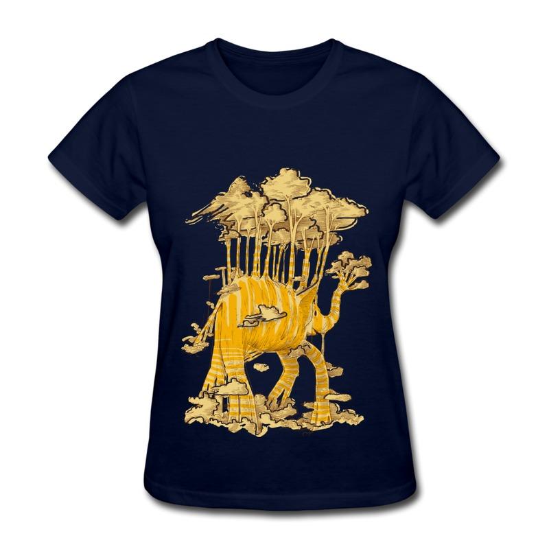 Good Quality Gildan Womens Tee Shirt Elephant trees Custom Humor Shapes T Shirts for Womans(China (Mainland))