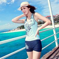 2014 women female paragraph sports split preppy style swimwear Gottex halter professional swim suit plus size