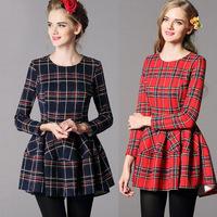 Free shipping new arrival women Korean fashion slim long-sleeved plaid dress wool blends dress spring autumn dresses promotion