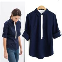 Women new OL korea chiffon blouse Long-sleeved shirt stitching white and blue free shipping