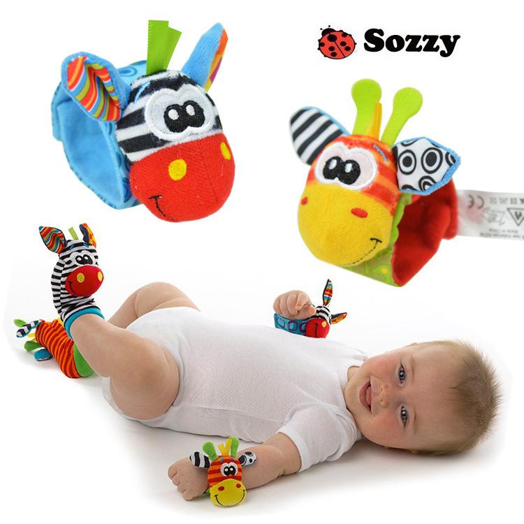 New arrival lamaze baby rattle baby toys sozzy colorful giraffe zebra Wrist Rattle+Foot Socks 4pcs/lot(China (Mainland))