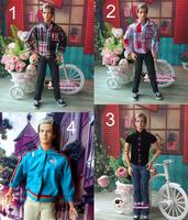 Lot 4 Set Clothes T-shirt Coat Trousers Suit Jeans Pants Set for Ken Doll