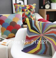 Free Shipping Boho Geometric pillow Linen cotton pillow cover/ cushion cover sofa cushion decoration pillow 45cm*45cm 3pcs/set