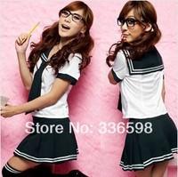 cos maid 2014 new fashion japanese AKB48 student uniform black white dress Women's Sexy Custume dresses