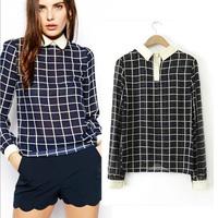 Women new OL Retro plaid long-sleeved shirt doll collar free shipping