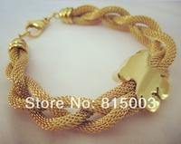 Free Shipping! Hot New Arrive 18K Gold Plating Stainless Steel Litter Bear Chain Bracelet Bangle For Girl Women