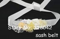 Min order 1 pcs Wedding bridesmaid sash chiffon flower girl sash Maternity sash belt lace flower sash Belt girls accessories