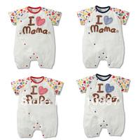2014 New Children's clothing  love mom short-sleeve romper  summer short-sleeve romper  baby jumpsuits 3pcs/lot Free shipping