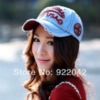 Spring and summer sun-shading sunscreen baseball cap letter retro denim finishing cap casual cap