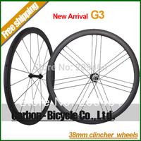 New Arrival !G3 38mm clincher carbon bike wheelset light 700C carbon fiber road bike G3 wheels