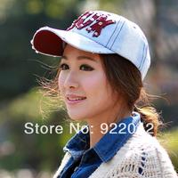 Korean Metrosexual lady peaked cap cowboy letters Baseball Cap Hat tide fashion trendsetter rivet