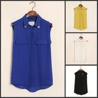New 2014 Summer Blouse Women Fashion Metal Collar Shirts Blusas Femininas Pocket Chiffon Shirt Lady Casual Chiffon Vest Tops