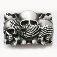 Distribute Classic Vintage Black Flame Shy Skulls Belt Buckle BUCKLE-CS041BK Free Shipping