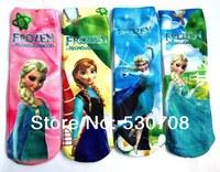 2014 NEW! 4pairs /lot 4 styles Baby Girls Cotton long Socks For Kids Fashion Frozen anna and elsa Cartoon Socks