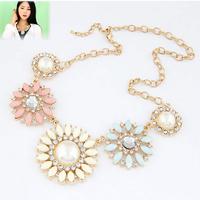 hot new fashion design elegant flowers rose gem rhinestone choker necklace 2014 high quality jewelry woman Statement