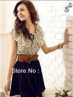 New and Fashion Women's Summer New Fashion Chiffon Short-sleeve Dots Polka Waist Mini Dress (With Belt) free shipping!! 5199