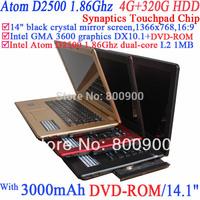 Notebook Laptop pc with 14 Inch 1366x768 16:9 Intel Atom D2500 1.86g 802.11b/g Wifi 4g Ram 320g Hdd