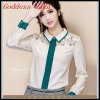 New spring 2014 women lace chiffon shirts blouse long sleeve fashion plus size retro blouses tops for women free shipping B024