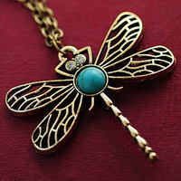 Delicate gem small dragonfly sweater chain necklace-0009