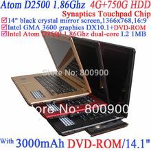 2014 14 Inch Ultrabook Cheap Notebook Laptop Computer Pc 1366x768 16:9 Intel Atom D2500 1.86g 802.11b/g Wifi 4g Ram 750g Hdd(China (Mainland))