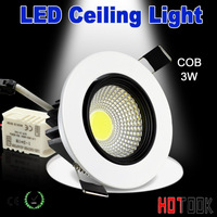 High Brightness LED COB Ceiling Light 3W led spot Aluminum white shell AC85V~265V Warm white / Cool White Free Shipping