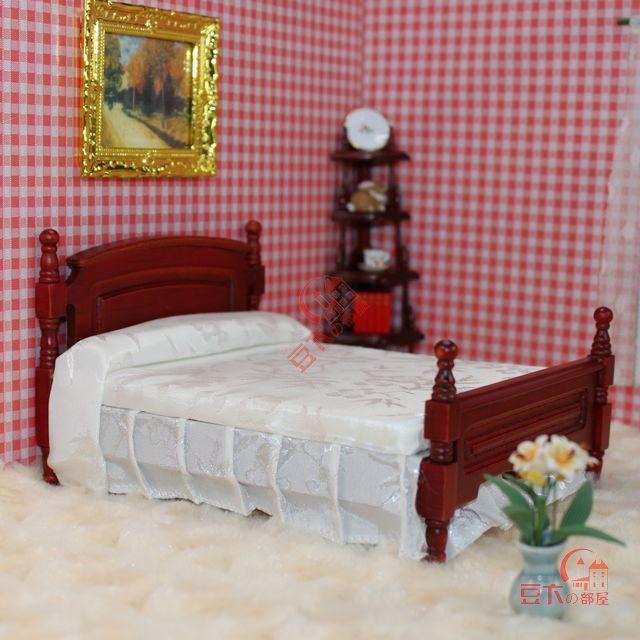 Fashion bjd doll house mini furniture mahogany model vintage wood product bed 22078(China (Mainland))