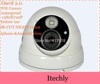 New networking 720P H.264 Onvif IR Plastic Housing HD Dome Indoor IP Megapixel Security Cameras