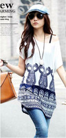 New 2014 plus size ice silk print dresses fashion summer tops blouses shirts free shipping (WYD036)