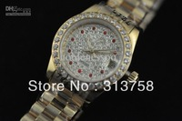 luxury Ladies Watch lady Diamond Dial 18kt Gold lady President Date mechanical hand wind Wristwatch Women's Watches
