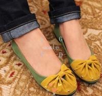 New Women's Stylish Round Toe Rivet Flattie Bowknot Spilicing Flat Single Shoes 2 Colors 4 Sizes 18116