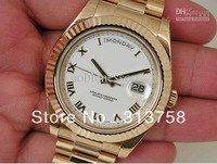 Luxury Mens Watch BRAND MENS 18K YELLOW GOLD PRESIDENT DAY DATE II WHITE ROMAN DIAL Mens Watch Men's Watches