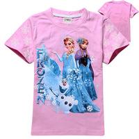 2-8yrs girls childrens tee shirt for 2014 summer kids top t shirt frozen cartoon ELSA design babys fashion cloting