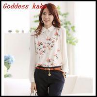 New 2014 Korean style women chiffon blouse print women fashion spring clothing plus size S-XXL free shipping B020