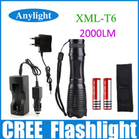 UltraFire CREE XML-T6 2000 Lumens High Power Focus Adjustable Torch Zoomable LED Flashlight Torch Light +DC/Car Charger WLF44